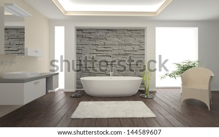 Modern Bathroom interior with stone wall - stock photo