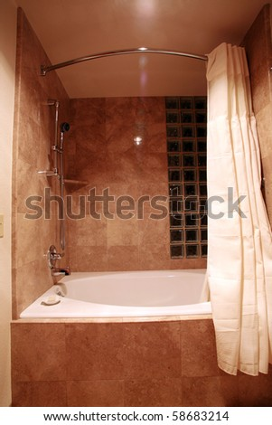 modern bathroom shower and bathtub - stock photo