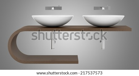 modern bathroom sink isolated on gray background - stock photo