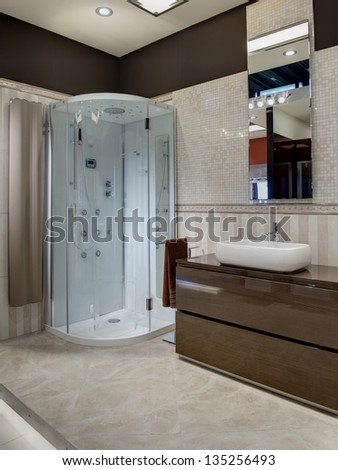 modern bathroom with a shower - stock photo