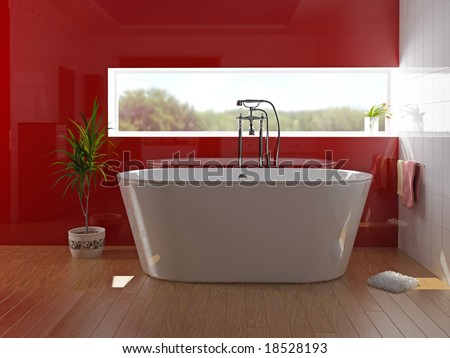 modern bathroom with a  tub (3D rendering) - stock photo