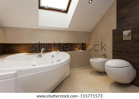 Modern bathroom with bath, bidet and toilet - stock photo