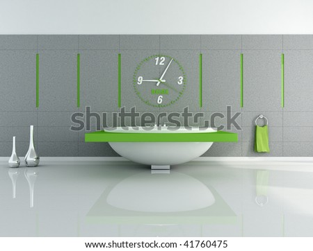 modern bathroom with big clock and fashion bathtub - rendering - stock photo