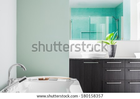 Modern Bathroom with blank wall for your test, image or logo. Soft Green Pastel Colors - stock photo