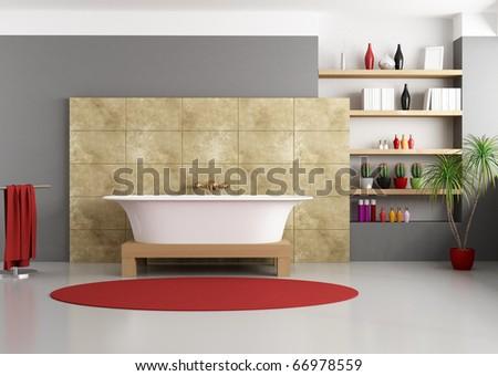 modern bathroom with classic bathtub - rendering - stock photo