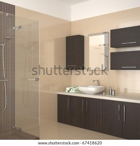 modern bathroom with dark wood equipment - stock photo