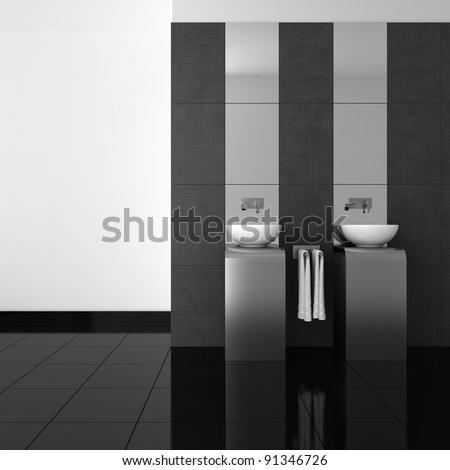 modern bathroom with double basin and black floor - stock photo
