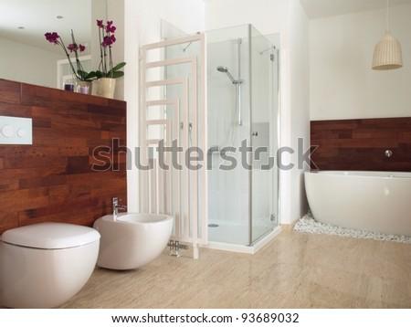 Modern bathroom with free standing bath - stock photo