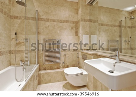 modern bathroom with marble and natural stone - stock photo