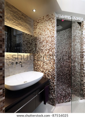 modern bathroom  with mosaic and masonry shower cubicle - stock photo