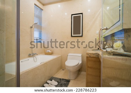 modern bathroom with nice decoration - stock photo