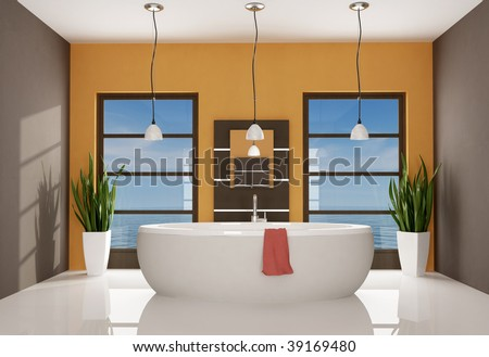 modern bathtub in a brown and orange great bathroom - rendering - the image on background is a my rendering composition - stock photo