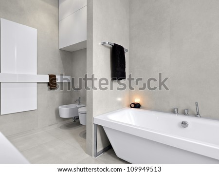 modern bathtub in a modern bathroom with  overlooking on sanitary ware and, marble floor - stock photo