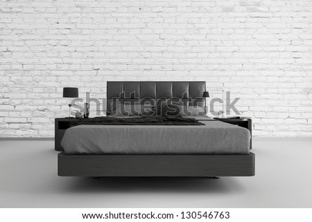 Modern Bed room 3D Interior - stock photo