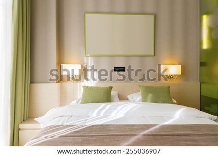 Modern bedroom in the morning - stock photo