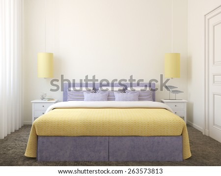 Modern bedroom interior.3d render. - stock photo