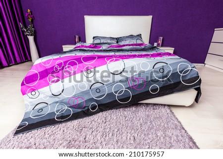Modern bedroom interior design. Professional lighting. Home sweet home. Comfy - stock photo