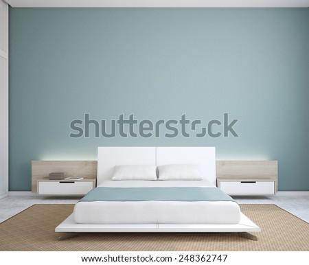 Modern bedroom interior. Minimalism. 3d render. - stock photo