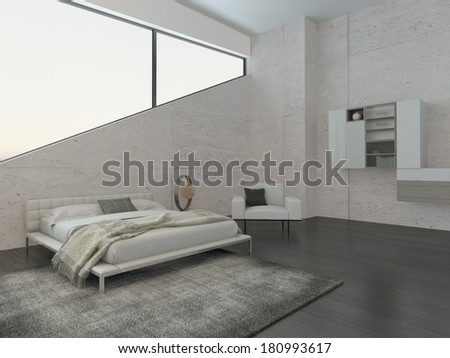 Modern bedroom interior with cozy king-size bed - stock photo