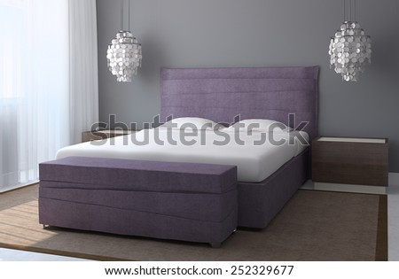 Modern bedroom interior with gray walls and violet king-size bed. 3d render. - stock photo
