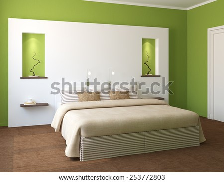 Modern bedroom interior with green walls and king-size bed. 3d render. - stock photo