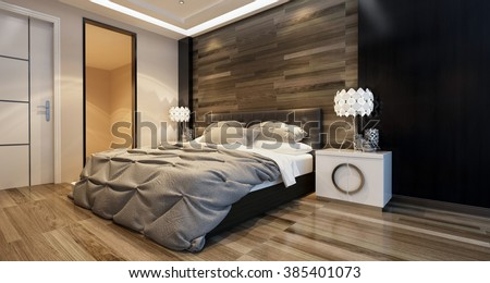 Modern bedroom interior with overhead lighting and a stylish bed in front of a wooden wall in a luxury home. 3d Rendering. - stock photo