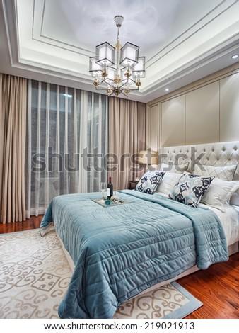 modern  bedroom luxury decoration interior - stock photo