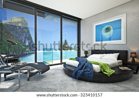Modern bedroom with a view of a magnificent seaside ocean cove. Photo realistic 3d rendering.  - stock photo