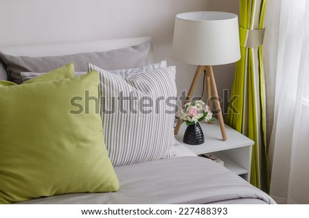 modern bedroom with wood lamp at home - stock photo