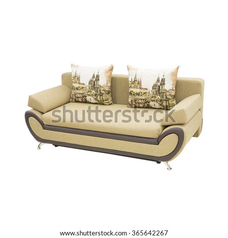 modern beige sofa with two pillows - stock photo