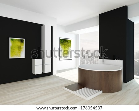 Modern black bathroom interior with wooden round bathtub - stock photo