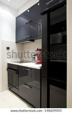 Modern black kitchen - stock photo
