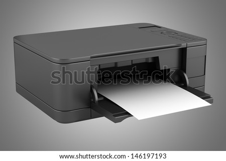 modern black office multifunction printer isolated on gray background - stock photo