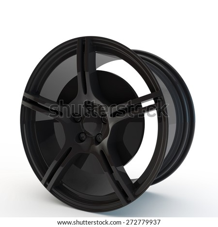 modern black rim with a brake disk - stock photo