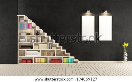 Modern black room with wooden staircase with bookcase - rendering - stock photo