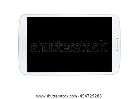 Modern black tablet pc isolated on white background. Business composition - stock photo