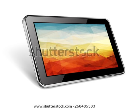 Modern black tablet pc with abstract background on screen - stock photo