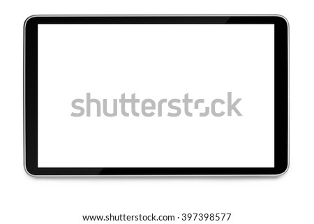 modern black tablet pc with blank screen isolated on white background - stock photo