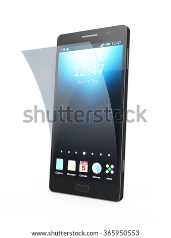 Modern Black Touchscreen Smart Phone with Screen Protector isolated on white background - stock photo
