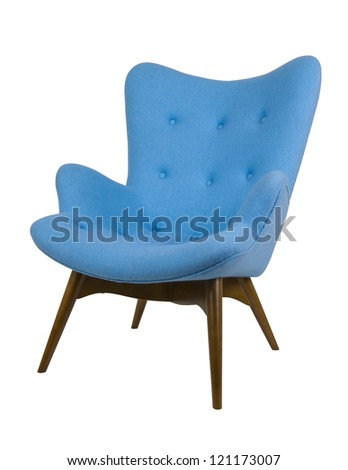 Modern blue armchair - stock photo