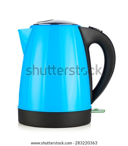 modern blue electric kettle, isolated on white - stock photo