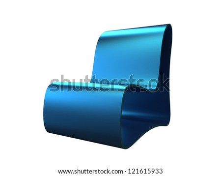 Modern blue longue chair isolated on a white background - stock photo