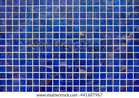 Modern blue tile mosaic background texture. - stock photo