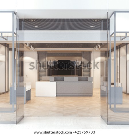 Modern boutique with glass doors and windows. 3d rendering - stock photo