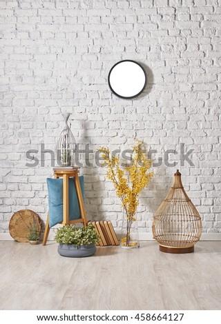 modern brick wall decor with round frame - stock photo