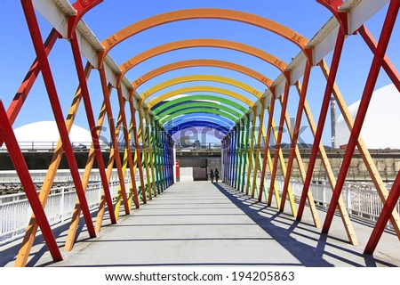 Modern bridge of iron, painted colors - stock photo