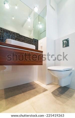 Modern bright bathroom interior - stock photo