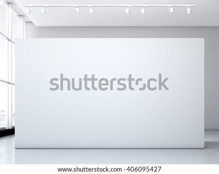 Modern bright gallery with white wall. 3d rendering - stock photo
