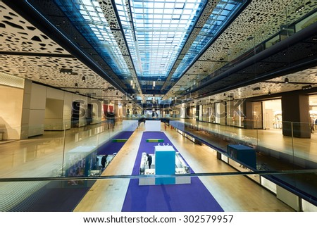 modern bright shopping mall indoor architecture - stock photo