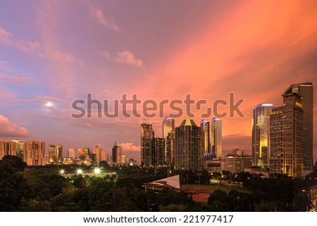 Modern building around Senayan area in Jakarta, the capital city of Indonesia at sunset. - stock photo